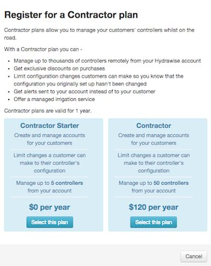 Choose a Contractor Plan screen