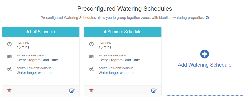 Account Watering Start Times And Water Days